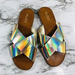 Aldo Metalic Gold Sandals Size 7.5